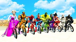 LEARN COLORS BMX BIKES & LARGE BUS w/ Superheroes Fun Animation for Children