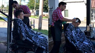 Barber Cuts Hair of Man in Wheelchair on Sidewalk When He Can