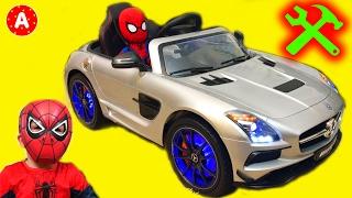 🚗 Super-Héros SpiderMan Mécanicien Adam Déballe Jouet Voiture Electrique Mercedes SLS AMG 👍