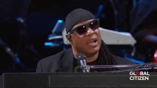 """Stevie Wonder and New York crowd sing """"We Are the World"""",""""My Cherie Amour"""" @ Central Park New York"""