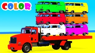 LEARN COLORS with BUS in Spiderman Cars Cartoon for kids and Superheroes for babies toddlers