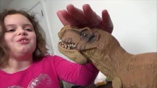 """Pet Dinosaur Thinks He Is A Dog & Pees In House """"Toy Freaks"""" Annabelle & Victoria"""