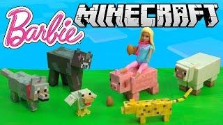 Barbie Mini Doll Vet Plays With Minecraft Animal Toys Series #2 Animal Mobs Game Pack Cookieswirlc