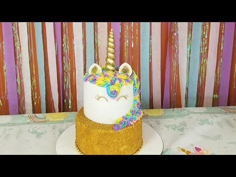 Unicorn cake 🦄 pastel de unicornio tutorial 😚😚😊😊😁😁😍😍🤗🤗
