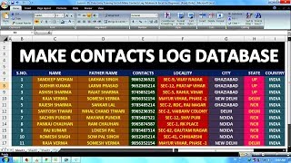 Lesson - 01   Data Entry Job Training For Beginners   How To Make Contacts Log Database In Excel  