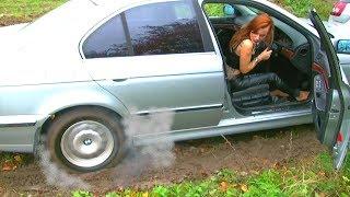 Hot redhead girl car stuck