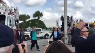 Hillary has trouble mounting a single step in Lake Worth, Florida