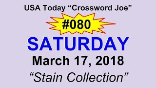 """#080 USA Today Crossword """"Stain Collection"""" March 17, 2018"""