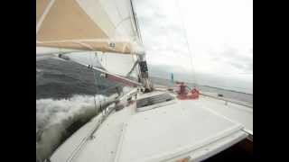 Fast Downwind sailing J-boats j-39 without spinaker