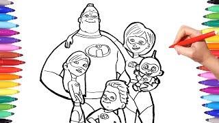 INCREDIBLES 2 Coloring Pages   Coloring Mr Incredible Elastigirl Violet Flash Jack   The Incredibles