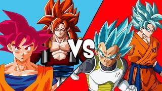 Red VS Blue Round 2 (Xenoverse: SSJGSSJ Goku And Vegeta VS Super Saiyan God Goku And SSJ4 Gogeta)