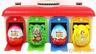 Learn Colors Tayo the Little Bus Station Super Kinder Joy Surprise Egg Disney Toys Peppa Pig