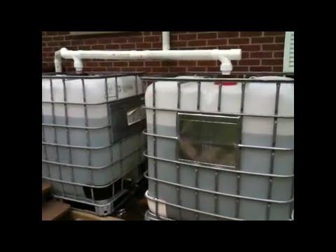Rain barrels with solar pump