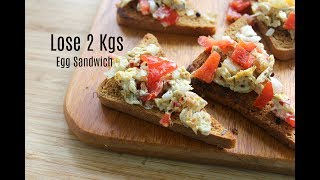 Lose 2 Kgs In 1 Week - Peppers And Egg Sandwich - Healthy Breakfast Ideas - Breakfast Recipes