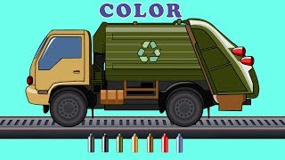 Kids TV Channel | Garbage Truck |  Learn Colors with Vehicles | Coloring Videos For Kids