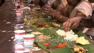 Eating with hands, off banana leaves, in India!