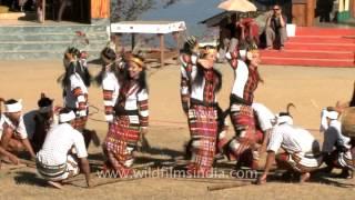 Mizoram delegates perform bamboo dance, Nagaland hornbill festival