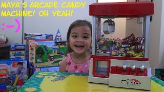 Arcade Games: Candy Arcade Machine Toy Unboxing & Playtime w/ Maya. Cool Toy!