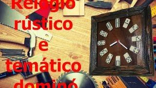Relógio rustico temático dominó (Rustic themed clock with domino)