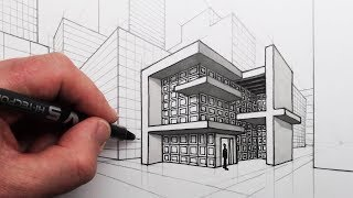How to Draw a Modern House and City in 2-Point Perspective