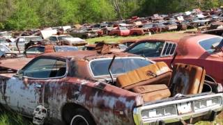 Old abandoned drag and rare cars in junkyard. Abandoned Muscle Cars In America 2017