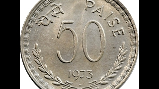Indian 50 (Fifty) Paisa Independence Coin | Year - 1973