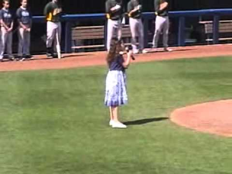 Talented 10 Year Old Sings the National Anthem Before a 2011 MLB Spring Training Game
