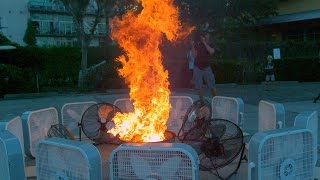 Watch The Spiraling Flames of this Fire Tornado Leap To Life!   Street Science