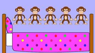 Five Little Monkeys Jumping On The Bed | Nursery Rhyme | RainbowRabbit | (Official Video)