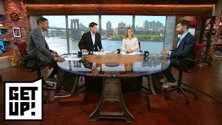 Jalen Rose, Mike Greenberg and Michelle Beadle play trivia with HQ