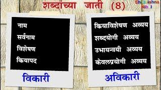 शब्दांच्या जाती - मराठी व्याकरण | Shabdanchya Jati Marathi  | Parts of speech in marathi grammar