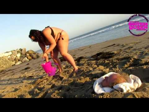 BBW Delicious at malibu beach plays in sand