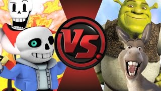 SANS and PAPYRUS vs SHREK and DONKEY! Cartoon Fight Club Episode 38