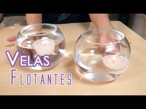 Centro de mesa de flores y velas flotantes vidoemo - Como hacer velas ...