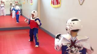 Young students beginning free sparring