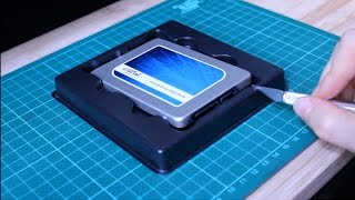 Upcycling the ssd-drive packaging as a mounting frame