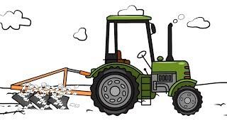 #Tractors Drawing - Plowing Field | Animation for kids | Zielony Traktor rysunek i kolorowanka