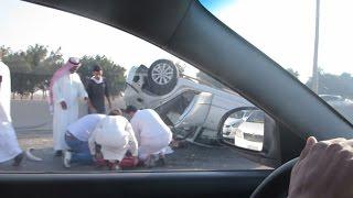 انقلاب سيارة في حادث خطير في السعودية