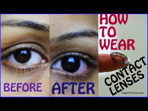 How To Wear Contact Lenses For First Time Tutorial |SuperPrincessjo
