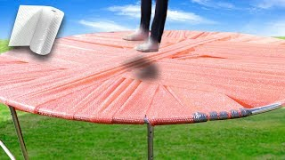 Bubble Wrap Trampoline! Will it hold?