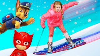 The Assistant Plays in the Snow with PJ Masks and Paw Patrol