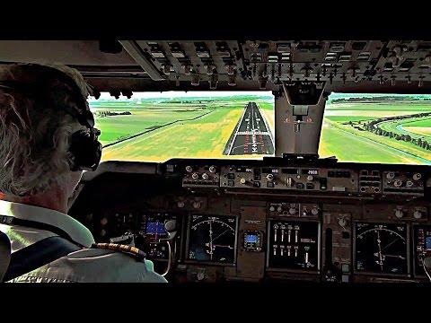 Pilot's View - Boeing 747-400 Crosswind Landing Amsterdam Schiphol