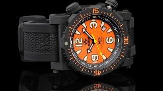 Reactor 43808 Titan 45.5 mm Orange Dial Strap Watch with Never Dark Technology