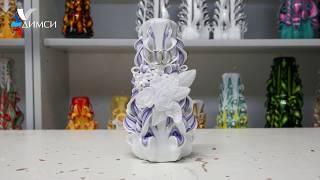 резная свеча свадебная с цветами и кольцами от ДИМСИ