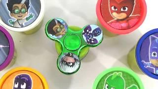 PJ MASKS  Play Doh Fidget Spinners GAME Superhero IRL Toy Surprises, Catboy, Owlette, Gekko, Romeo