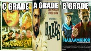 Difference between On A grade film,B grade films or C grade films