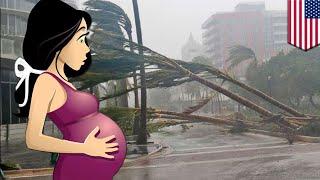 ハリケーン襲来中 一人で自宅出産した妊婦