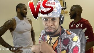 WOAH MELO PLAYING DEFENSE?! CARMELO ANTHONY vs CHRIS PAUL 1 ON 1 REACTION!