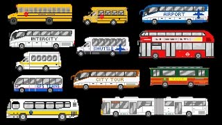 Buses - Street Vehicles - The Wheels on the Bus - The Kids