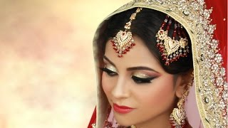 Traditional Asian Bridal Makeup with Gold Glitter